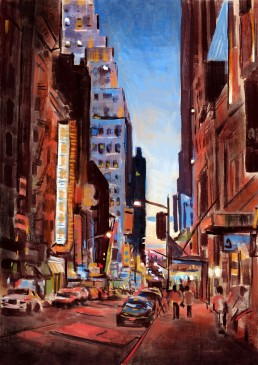 NYC at night painting