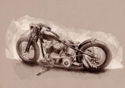 Harley Davidson bobber illustration