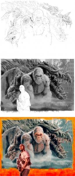 Rampage with Dwayne Johnson alternative movie poster process