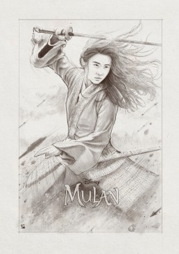 mulan-black-and-white-illustration