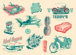 3-colour-tiki-hot-rod-illustrations